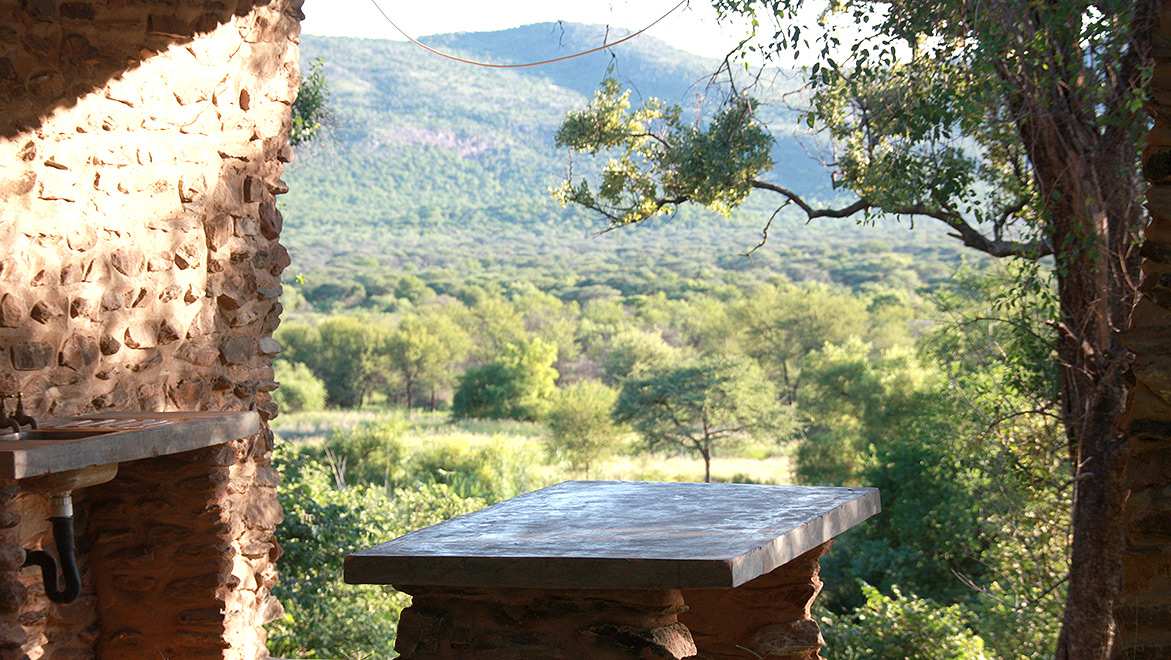 Guests of the Ghaub Campsite have a great view to the wide valley of Ghaub in the Otavi Mountains