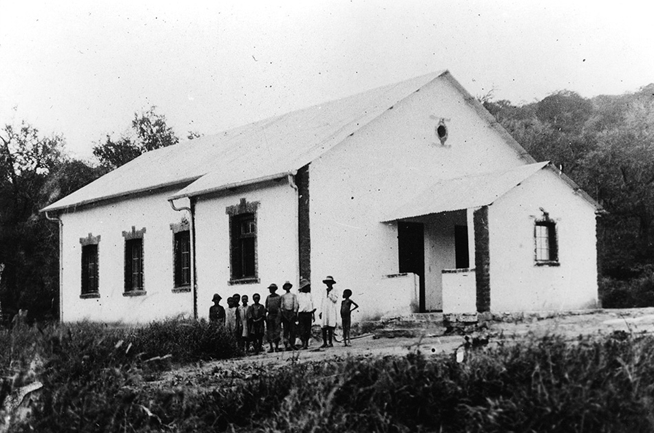 The building of the mission church (and school) in 1910...